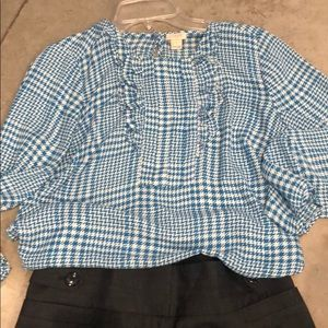 JCrew Ruffle Blouse size 8. Long sleeve